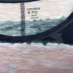 crown & ivy Tops - CROWN & IVY 3/4 SLEEVE Pink & Gray Flare Top 1X